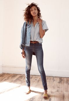 "madewell 9"" high-rise skinny jeans worn with the striped central shirt + jean jacket. #denimmadewell"