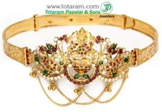 Buy 22K Gold 'Lakshmi Peacock' Arm Patti (armlet) with Ruby - ARMV190 with a list price of $1,946.99 - 22K Indian Gold Jewelry from Totaram Jewelers
