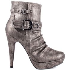 Dargha will give you everything you desire in an ankle boot.  This G by Guess style brings you a synthetic upper in a fun pewter complete with decorative buckles and scrunched look at the vamp.  A 5 inch heel and 1 inch platform perfect this chilly weather must have.