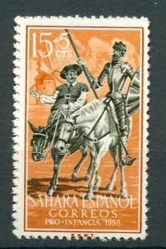 The Amorous Adventures of Don Quixote and Sancho Panza by Spanish author Don Miguel de Cervantes Saavedra in Old Stamps, Vintage Stamps, Man Of La Mancha, Dom Quixote, Don Miguel, Postage Stamp Art, Going Postal, Mail Art, Stamp Collecting