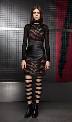 #MMissoni   Net Sleeves Broken ZigZag Dress   #Winter201314 Collection #womensfashion