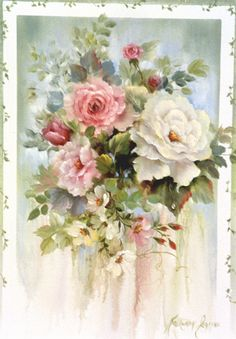Roses with Vine Border - by: Kathwren Jenkins.