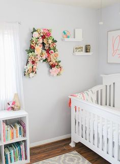 We love a girly nursery, and this one is just that and more! Whether you want to decorate with floral letters, or boho accessories, this nursery will offer you plenty of inspiration.