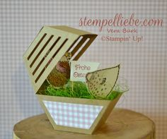 2017 A chicken star from the Stampin Up window box Stampin Up Ostern, Hexagon Box, Paper Crafts, Diy Crafts, Pretty Packaging, Packaging Ideas, Pretty Box, Scrapbooking, Stamping Up Cards