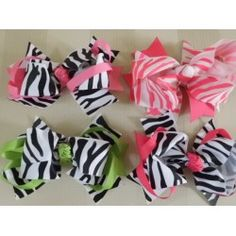 Zebra Print Ribbon Color Layered Hair Bow <3 see all colors!