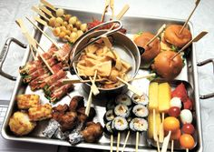 Skewered appetizer platter - one for each table!  This is brilliant!