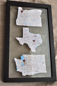 "State Map Art...totally making this..different frame though, something more shabby chic.  I would add the line ""Home is Where the Heart Is"", maybe using letters cut out from a magazine, or even paint it onto the glass around the map..."