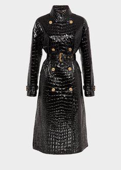ed0725e6582d Mock Croc Vinyl Trench Coat - black Jackets   Coats Black Jackets, Everyday  Fashion,. Versace