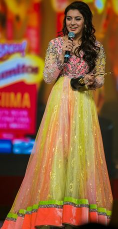 Hansika Motwani in Shaded Neon Colour Anarkali Dress