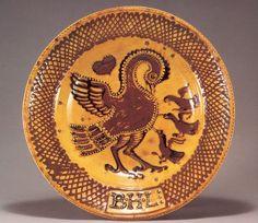 ガレナ釉筒描ペリカン図大皿:1925、アサヒビール大山崎山荘美