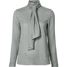 Vanessa Seward scarf detail blouse ($625) ❤ liked on Polyvore featuring tops, blouses, grey, gray top, wool tops, vanessa seward, gray blouse and grey top