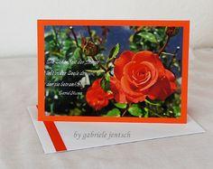 """Karte Sprüche Zitate """"red rose"""" von PHOTOGLÜCK auf DaWanda.com"""
