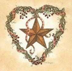 Tin star in heart