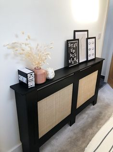 Black Furniture, Living Furniture, Living Room Decor, Rattan Furniture, Diy Radiator Cover, Radiator Ideas, Painted Radiator, Black Radiators, Hallway Inspiration