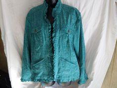 coldwater creek teal color floral open front jacket size 1X #ColdwaterCreek #Jacket