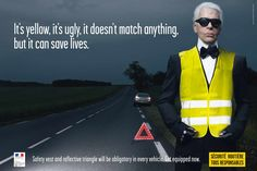 French Road Safety: Lagerfeld. Headline and Subheadline