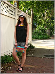 Summer staples with #LOFT ! Leaf printed shorts, cotton cami, layered necklaces, beads #sparkle , aztec wristlet, vintage, #fedora #asos #ootd #lookbook #blogger http://thefabulouslifeofanaturaldisaster.com/2013/06/28/summer-staples-for-fun-in-the-sun/