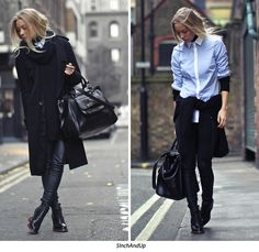 Blue shirt + black