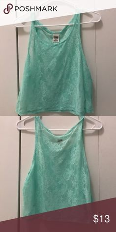 Pink- Mint color tank top Beautiful mint color tank top/crop top never used tags off. PINK Victoria's Secret Tops Crop Tops