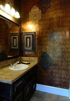 Embossed Florentine Damask Stencil wall finish with crushed glass beads and foil | Project by Tiffany Alexander