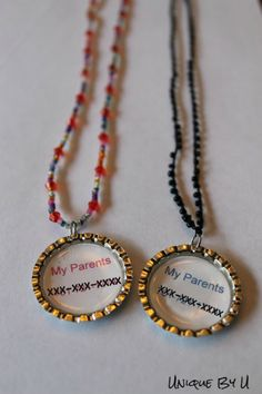 Traveling with kids? Phone Number Necklace tutorial - put your name and phone number on the necklace - make one for each of your children - it can be tucked inside their shirt. If they get separated Disney Vacations, Disney Trips, Tip Junkie, Car Travel, Travel Hacks, Travel Ideas, Road Trip Hacks, Road Trips, Necklace Tutorial