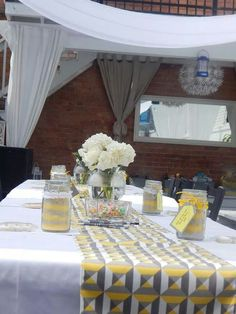 Yellow and Gray bridal shower