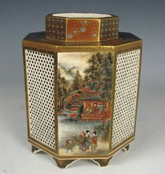Japanese Antique Satsuma Censer with Village Scenes - View 2