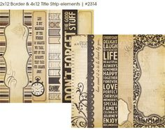 Memory Works Simple Stories 12x12 Paper Documented Border & Title Strip Elements