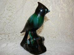 Vintage Glazed Porcelain Cardinal Figurine Bird Display - SOLD