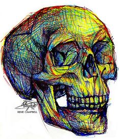 Skull Ball Point & Highlighter Sketch