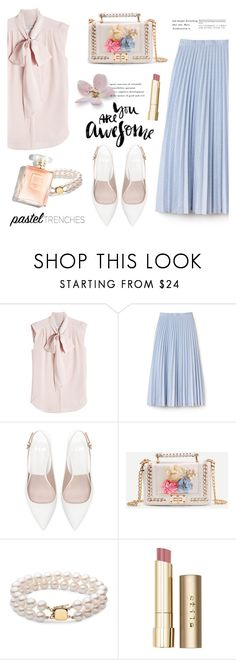 """Feeling pink"" by nadialesa ❤ liked on Polyvore featuring MaxMara, Lacoste, Zara, Stila, skirt, soft, pastel and pleated"