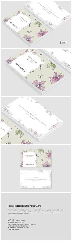 Floral Pattern Business Card by The Design Label on @creativemarket