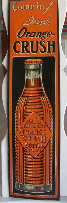 Orange Crush Vintage Door Push (Old Antique 1920 Soda Pop Beverage Advertising Tin Sign)
