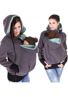 25,- Graue Multi-Funktions Reißverschluss Kangaroo Baby Taschen Tragejacke Kapuzenpullover Sweatshirt