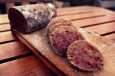 Awesome lentil and beetroot salami recipe - vegan