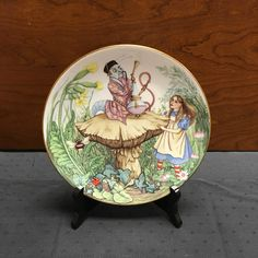 1981 Alice In Wonderland Collectible Limoges Porcelain Plate - Alice and the Caterpillar by TheCreakyHinge on Etsy