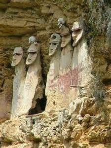 Blonde haired Chachapoya people in the ancient andes. Sarcophagi.