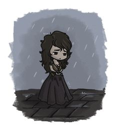 Little Éponine in the rain. Aw. (gif)