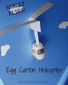 Egg carton crafts don't get much cooler than this!!  An egg carton helicopter that really flies!  Such a cool science activity for kids.  And all you need is paper and an egg carton! From @HowWeeLearn