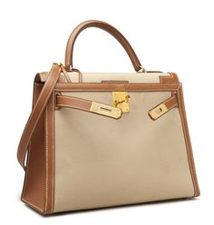 A 28CM GOLD COURCHEVEL LEATHER & CANVAS SELLIER KELLY BAG