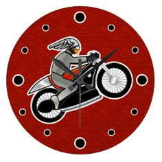 The Cafe Racer - Round - Great gift for the motorcycle fans in your life, this wall clock features Leslie Sigal Javorek's original digital painting of an Art Deco Café Racer on a red faux textured backdrop. Hour markers are black filled circles bordered in white. See all products w/ this design @ www.zazzle.com/icondoit+motorcycle+gifts?rf=238155573613991097&tc=pnt #motorcycleclocks #artdecoclocks