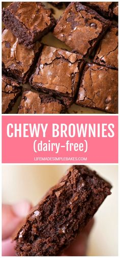 Chewy Brownies (dairy-free) - Life Made Simple - - Thick, rich, chewy brownies made from scratch and ready in just 45 minutes. These irresistible bars may be dairy-free but they taste just as good as their buttery counterpart. Dairy Free Baking, Dairy Free Snacks, Dairy Free Recipes, Gluten Free, Dairy Free Halloween Recipes, Lactose Free Cakes, Lactose Free Desserts, Dairy Free Pizza, Oven Recipes