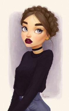 Visage dessin fille rousse dessins de fille dessin silhouette fille moderne chalker et pull noir maquillage