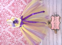 English Garden Lilac, Purple & Yellow Girls Long Tutu Dress