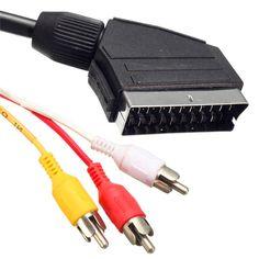 Universal 1.5 M 21 Pin Scart a 3 RCA Plugs Fonógrafo de Plomo Cable de Audio y Vídeo Conector Electrónica Accesorios TV DVD televisión(China (Mainland))