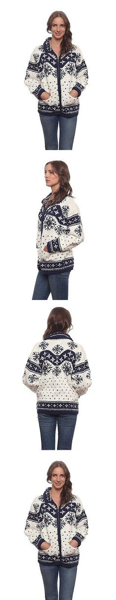 Sweaters 50993: Invisible World Womens Wool Cotton Blend Blue And White Otavalo Cardigan Sweater -> BUY IT NOW ONLY: $100.27 on eBay!