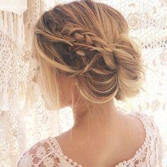 """all macramé everything."" instagram @kristin_ess | messy braid updo"