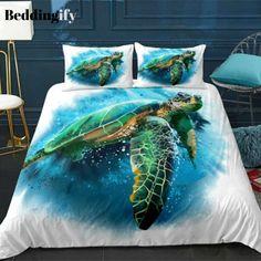 Beach Bedding Sets, Comforter Sets, 3d Bedding, Girls Duvet Covers, Duvet Cover Sets, Ocean Bedroom Kids, Ocean Turtle, Kings Home, Quilt Set