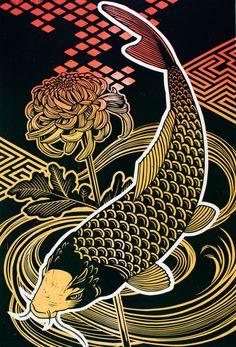 Koi with Chrysanthemum Art Print