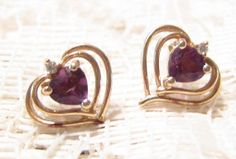Vintage 10 KT Gold Heart Shaped Earrings by ViksVintageJewelry, $45.00